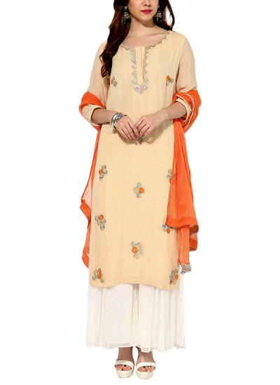 Indian Fashion Designers - House Of Trove - Contemporary Indian Designer - Salwars - HT-AW15-S001A - Sunset Hue Suit