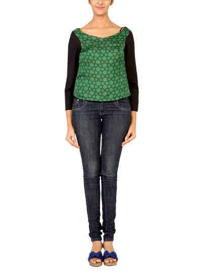 Indian Fashion Designers - Janki - Contemporary Indian Designer - Tops - JKI-SS15-T2 - Green and Black Top