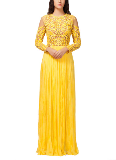 Indian Fashion Designers - Kashmiraa Gandhi - Contemporary Indian Designer Clothes - Gowns - KAS-SS15-KASOS7 - Yellow Embroidered Cocktail Gown