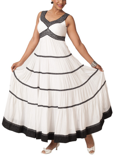Indian Fashion Designers - Neha Gursahani - Contemporary Indian Designer - Dresses - NG-SS14-SS-09 - White Tiered Crinkled Dress