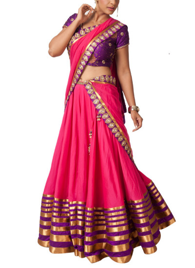 Indian Fashion Designers - Neha Gursahani - Contemporary Indian Designer - Lehengas - NG-SS14-SS-03 - Gorgeous Rani Pink Lehenga Set