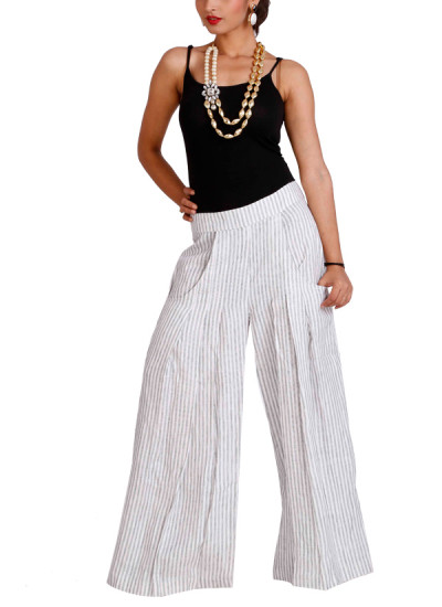 Indian Fashion Designers - Neha Gursahani - Contemporary Indian Designer - Trousers - NG-SS15-Look-10 - Striped Wide Leg Palazzo Pants