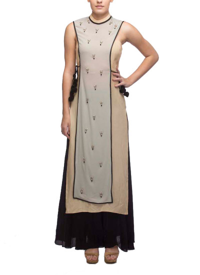 Indian Fashion Designers - Nidhika Shekar - Contemporary Indian Designer - Salwars - NS-SS15-NSS045 - Grey and Black Suit