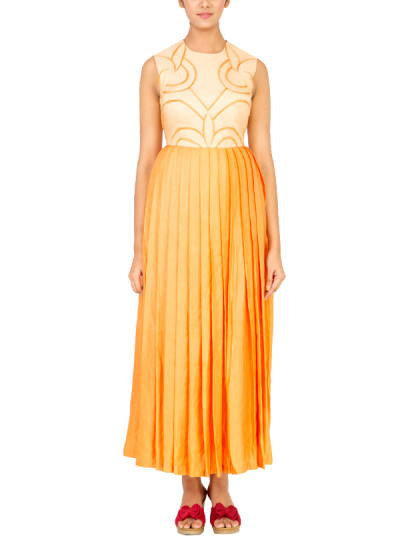 Indian Fashion Designers - Radhika Gulati - Contemporary Indian Designer - Gowns - RG-AW15-7 - Beige and Orange Maxi