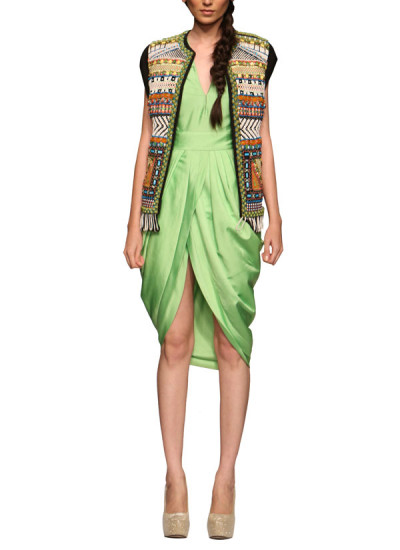 Indian Fashion Designers - Rinku Sobti - Contemporary Indian Designer - Jackets - RS-SS15-CM3-1106 - Embroidered Tribal Jacket