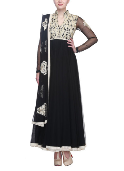 Indian Fashion Designers - Siddhartha Tytler - Contemporary Indian Designer Clothes - Anarkalis - ST-SS15-STC14-ANKL-007 - Chic Black Anarkali