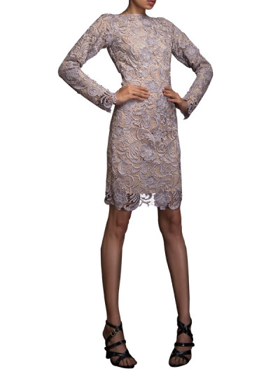 Indian Fashion Designers - Siddhartha Tytler - Contemporary Indian Designer Clothes - Dresses - ST-SS14-BA13-DRS-001 - Mushroom Sicilian Lace Backless Dress