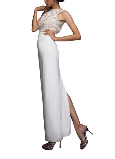 Indian Fashion Designers - Siddhartha Tytler - Contemporary Indian Designer Clothes - Gowns - ST-SS14-BA13-GWN-001 - Off-White Neoprene Gown