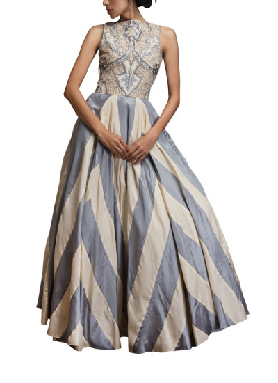 Indian Fashion Designers - Siddhartha Tytler - Contemporary Indian Designer Clothes - Gowns - ST-SS14-BA13-GWN-008 - Applique Detailed Striped Ball Gown