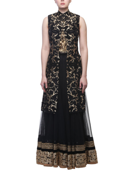 Indian Fashion Designers - Siddhartha Tytler - Contemporary Indian Designer Clothes - Lehengas - ST-SS15-STC14-JCKT-004-SKRT-002 - Stunning Black Lehenga