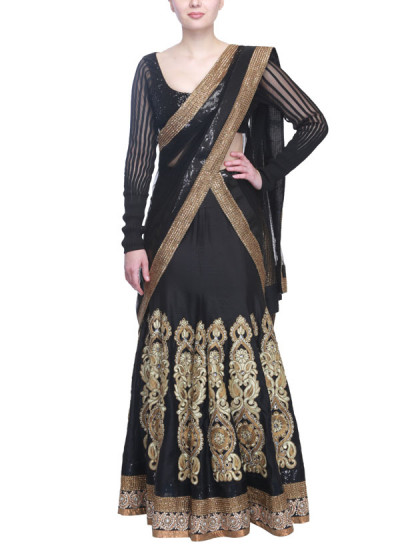 Indian Fashion Designers - Siddhartha Tytler - Contemporary Indian Designer Clothes - Lehengas - ST-SS15-STC14-LHNG-004 - Black Kalidar Lehenga