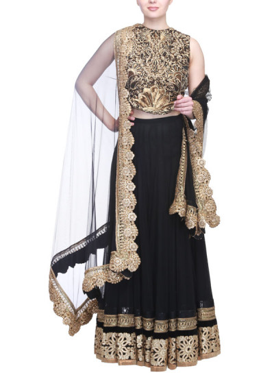 Indian Fashion Designers - Siddhartha Tytler - Contemporary Indian Designer Clothes - Lehengas - ST-SS15-STC14-LHNG-005 - Gorgeous Black Embellished Lehenga