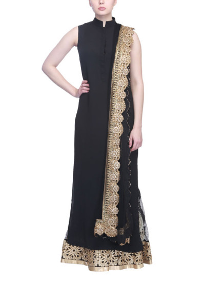 Indian Fashion Designers - Siddhartha Tytler - Contemporary Indian Designer Clothes - Lehengas - ST-SS15-STC14-PNT-002 - Black Sharara Set
