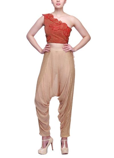 Indian Fashion Designers - Siddhartha Tytler - Contemporary Indian Designer Clothes - Tops - ST-SS15-STC14-CRST-002-PNT-010 - Stylish Zouave Pants Set