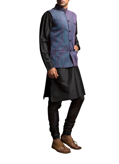 Indian Fashion Designers - Siddhartha Tytler - Indian Clothes - Indian Bridal Wear - Jackets - ST-SS14-BA13-WCOAT-005 - Fuchsia and Turquoise Textured Waistcoat