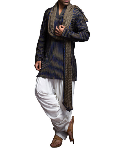 Indian Fashion Designers - Siddhartha Tytler - Indian Clothes - Indian Bridal Wear - Kurtas - ST-SS14-BA13-KRTA-002 - Olive And Navy Textured Kurta Set