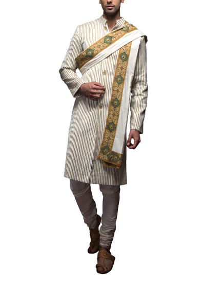 Indian Fashion Designers - Siddhartha Tytler - Indian Clothes - Indian Bridal Wear - Sherwanis - ST-SS14-BA13-SHRVN-001 - Beige and Cream Striped Sherwani Set