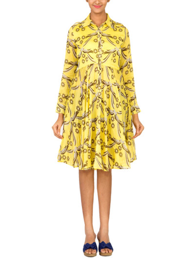 Indian Fashion Designers - Surendri - Contemporary Indian Designer - Dresses - SUR-SS15-9 - Yellow Printed Dress
