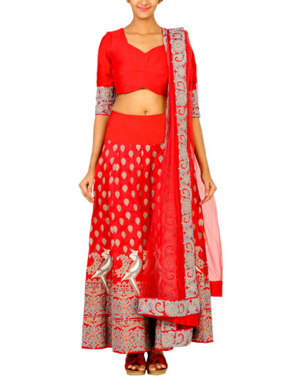 Indian Fashion Designers - Surendri - Contemporary Indian Designer - Lehengas - SUR-SS15-2 - Red Mithu Embroidered Lehenga