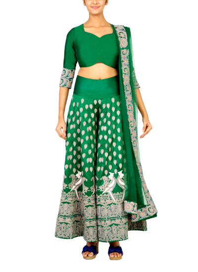 Indian Fashion Designers - Surendri - Contemporary Indian Designer - Lehengas - SUR-SS15-3 - Green Mithu Embroidered Lehenga