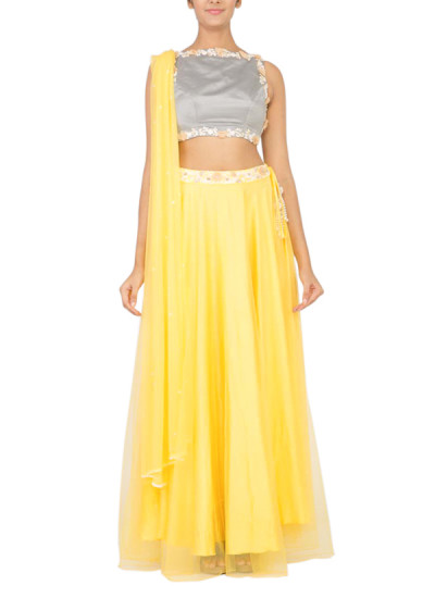 Indian Fashion Designers - Swaha - Contemporary Indian Designer - Lehengas - SWA-SS15-S-05 - Fresh Lemon Zest Lehenga
