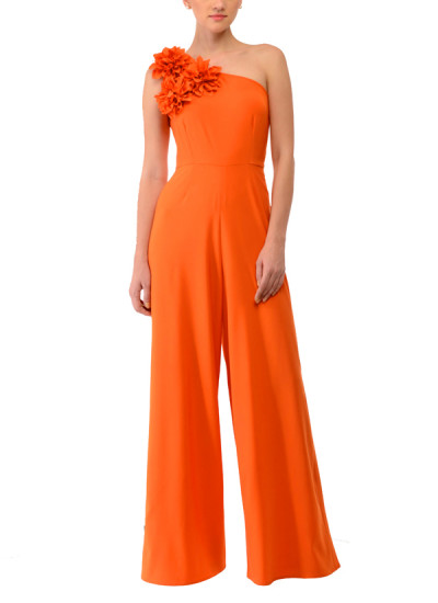 Indian Fashion Designers - Swatee Singh - Contemporary Indian Designer Clothes - Jumpsuits - SWS-AW14-SSJ-45 - Orange One Shoulder Jumpsuit