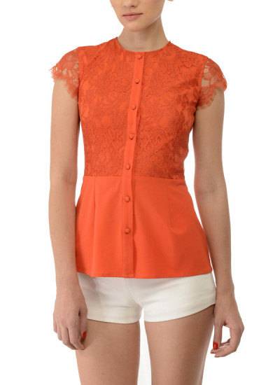Indian Fashion Designers - Swatee Singh - Contemporary Indian Designer Clothes - Tops - SWS-AW14-SST-56 - Striking Orange Peplum Shirt
