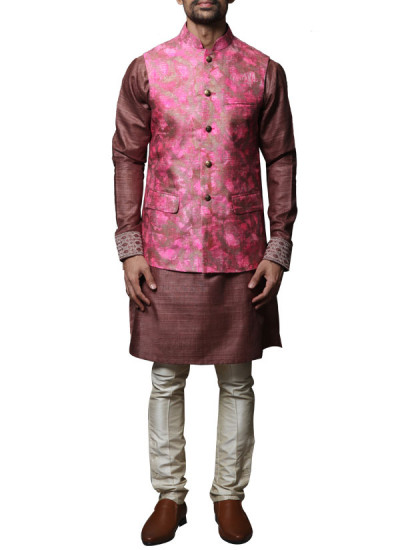 Indian Fashion Designers - WYCI - Contemporary Indian Designer Clothes - Jackets - WYCI - SS14 - W3WCh001 - Distinct Pink and Brown Waistcoat