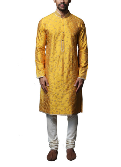 Indian Fashion Designers - WYCI - Contemporary Indian Designer Clothes - Kurtas - WYCI-AW14-W3KDs012 - Yellow Embroidered Kurta