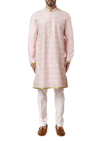 Indian Fashion Designers - WYCI - Contemporary Indian Designer Clothes - Kurtas - WYCI-AW15-KT-14 - Spun Silk Light Pink Kurta