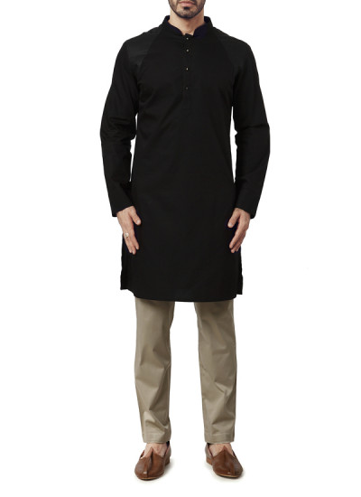 Indian Fashion Designers - WYCI - Contemporary Indian Designer Clothes - Kurtas - WYCI-AW15-KT-6 - Giza Cotton Black Kurta