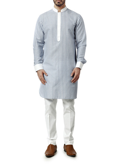 Indian Fashion Designers - WYCI - Contemporary Indian Designer Clothes - Kurtas - WYCI-AW15-KT-7 - Blue and White Kurta
