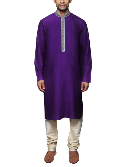 Indian Fashion Designers - WYCI - Contemporary Indian Designer Clothes - Kurtas - WYCI-SS14-W3KSs052 - Royal Purple Kurta