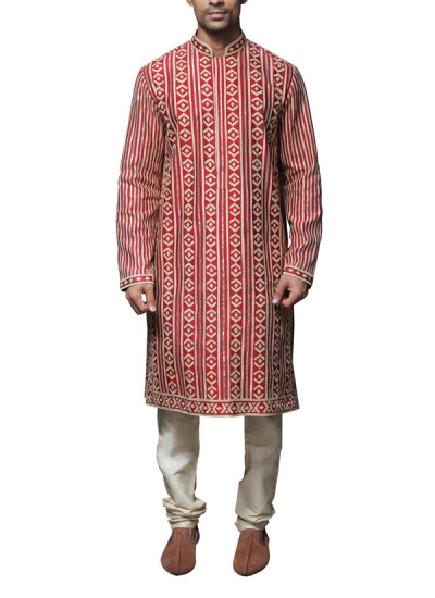 Indian Fashion Designers - WYCI - Contemporary Indian Designer Clothes - Kurtas - WYCI-SS14-W3KSs060 - Red Applique Detailed Kurta