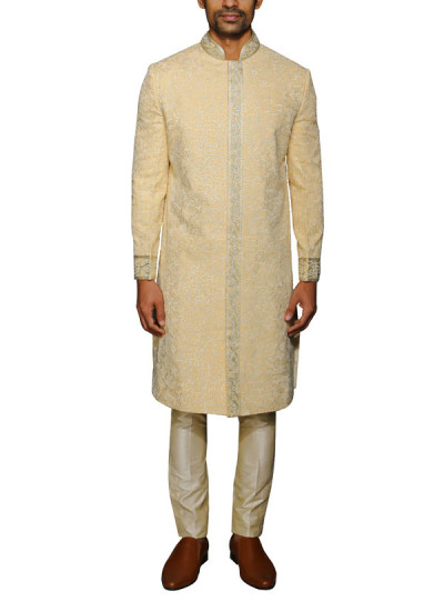 Indian Fashion Designers - WYCI - Contemporary Indian Designer Clothes - Sherwanis - WYCI-AW14-W3SGt002 - Regal Cream Sherwani