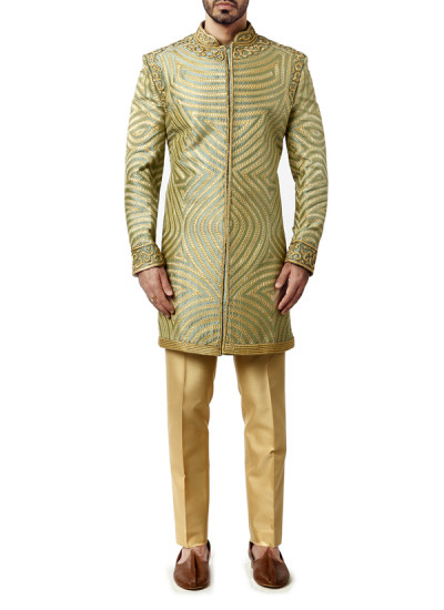 Indian Fashion Designers - WYCI - Contemporary Indian Designer Clothes - Sherwanis - WYCI-AW15-SW-1 - Ornate Blue and Yellow Sherwani