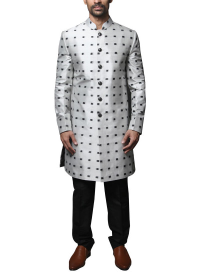 Indian Fashion Designers - WYCI - Contemporary Indian Designer Clothes - Shewanis - WYCI - SS14 - W3SIk002 - Black And White Ikat Sherwani