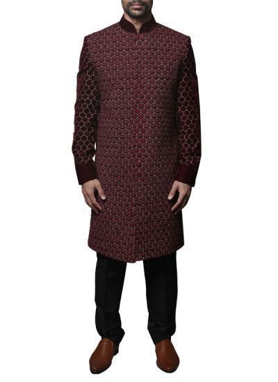 Indian Fashion Designers - WYCI - Contemporary Indian Designer Clothes - Shewanis - WYCI - SS14 - W3SVv001 - Maroon Hand Embroidered Sherwani