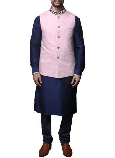 Indian Fashion Designers - WYCI - Indian Designer Clothes - Jackets - SS14 - W3WLn027 - Pink Linen Waistcoat