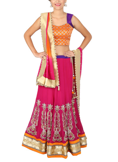 Indian Fashion Designers - Yosshita-Neha - Contemporary Indian Designer Clothes - Lehengas - YN-SS15-YNL-007 - Fuchsia Pink and Orange Lehenga