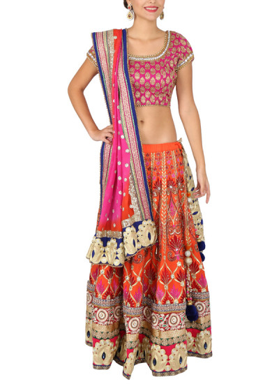 Indian Fashion Designers - Yosshita-Neha - Contemporary Indian Designer Clothes - Lehengas - YN-SS15-YNL-015 - Pretty Bridal Lehenga