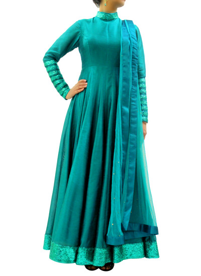 Indian Fashion Designers - silvereene - Contemporary Indian Designer Clothes - Anarkalis - SI-SS15-SIL-12 - Turquoise Green Anarkali