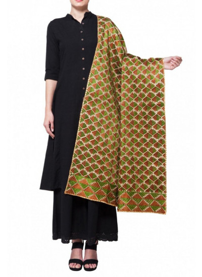 Indian Fashion Designers - Absolute Pashmina - Contemporary Indian Designer - Amritsar Accent Phulkari Stole - ABP-AW16-A002