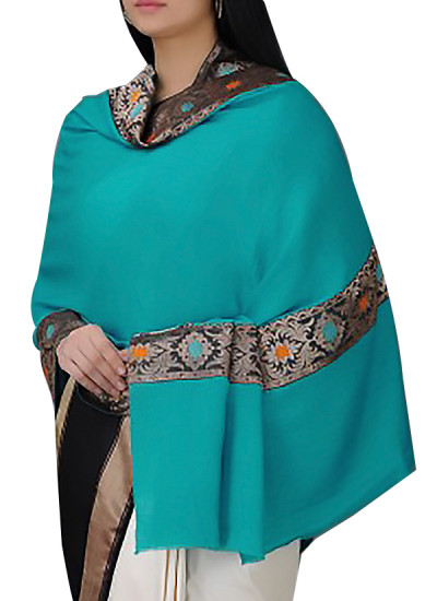 Indian Fashion Designers - Absolute Pashmina - Contemporary Indian Designer - Turquoise Cashmere Shawl - ABP-AW16-A004