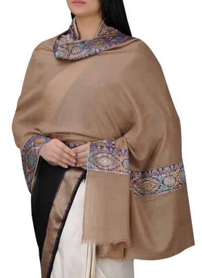 Indian Fashion Designers - Absolute Pashmina - Contemporary Indian Designer - Beige Cashmere Shawl - ABP-AW16-A005