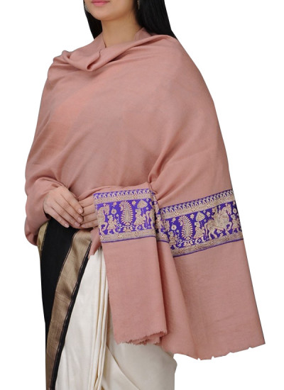 Indian Fashion Designers - Absolute Pashmina - Contemporary Indian Designer - Pink Cashmere Shawl - ABP-AW16-A007
