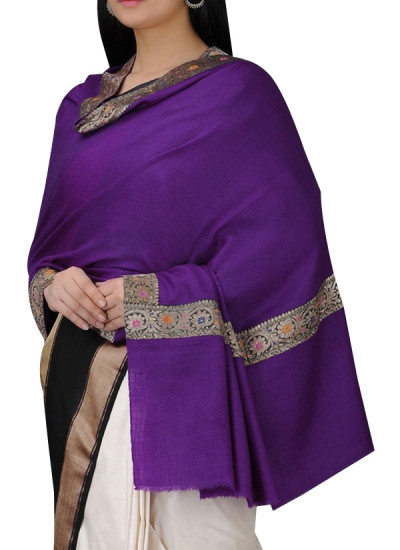 Indian Fashion Designers - Absolute Pashmina - Contemporary Indian Designer - Purple Cashmere Shawl - ABP-AW16-A008