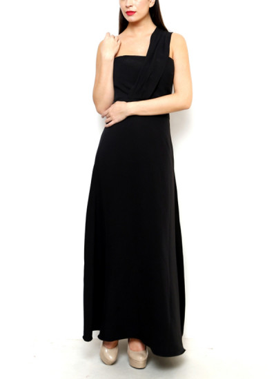 Indian Fashion Designers - Aida - Contemporary Indian Designer - Royal Crepe One Shoulder Gown - AID-AW17-AD00020