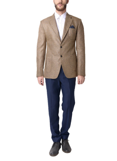 Indian Fashion Designers - Alvin Kelly - Contemporary Indian Designer - Classic Beige Solid Blazer - ALK-SS16-ALK-BLZ-931