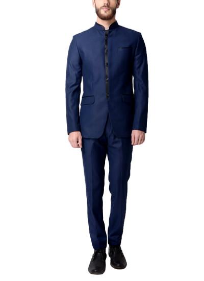 Indian Fashion Designers - Alvin Kelly - Contemporary Indian Designer - Navy Blue Solid Blazer - ALK-SS16-ALK-BLZ-940
